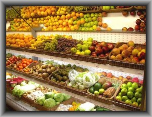 Торговый стеллаж для выкладки фруктов и овощей