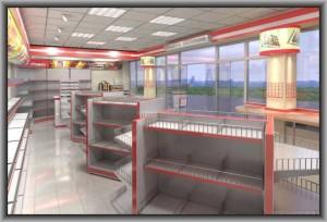 дизайн торгового оборудования и интерьера