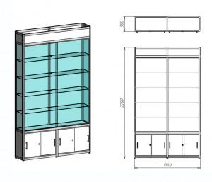 Стеклянная витрина чертеж