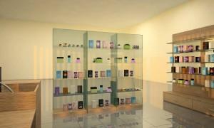 Торговое оборудование для магазина косметики и парфюмерии - стеклянная витрина